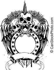 punk skulls frame - Vector illustration three punk skulls...