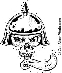 Punk tattoo style skull with helmet and long tongue