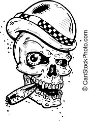 Punk tattoo style skull with wings smoking a cigar