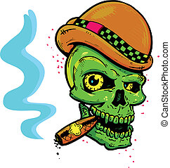 Punk tattoo style skull with wings smoking a cigar vector illustration. Fully editable