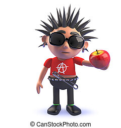 punk, tenencia, manzana, niño, caricatura, orgánico, 3d, carácter
