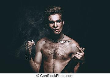 punk topless man