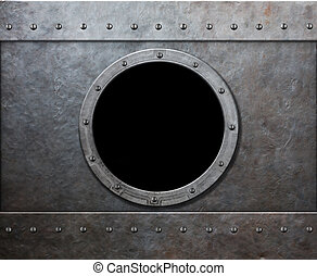 punk, vapor, submarino, janela, navio militar, ou