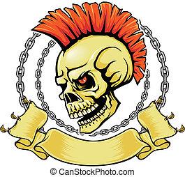 punk, vermelho, cranio