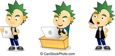 Punk with laptop mascot