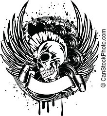 Vector illustration a skull punk wings and dynamics