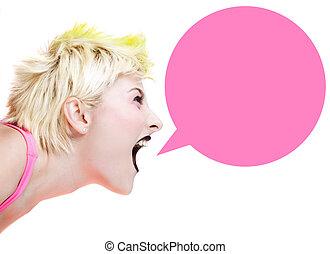 punker, meisje, het schreeuwen