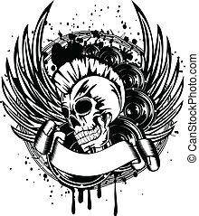 punker, met, vleugels, meldingsbord