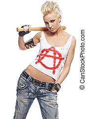 punkrock, flicka, med, a, slagträ