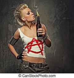 punkrock, flicka, ryka en cigarrett