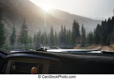 punkt, auto, natur, durch, europe., reise, straße, ansicht