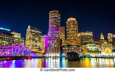 punkt, boston, skyline, fächer, nacht, pier, kanal, fort