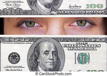 punkt, dollar, ansicht