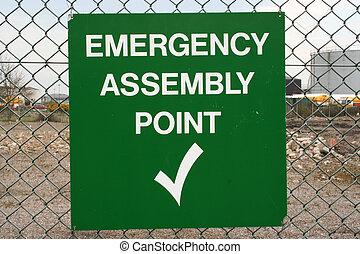 punkt, forsamling, nødsituation underskriv