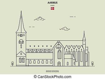 punkt orientacyjny, denmark., aarhus, katedra, ikona