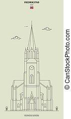 punkt orientacyjny, fredrikstad, norway., katedra, ikona