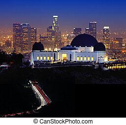 punkt orientacyjny, griffith obserwatorium, w, los anieli, kalifornia
