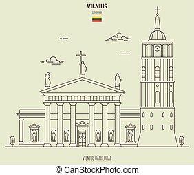 punkt orientacyjny, katedra, lithuania., ikona, wilno