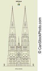 punkt orientacyjny, katedra, sweden., ikona, uppsala