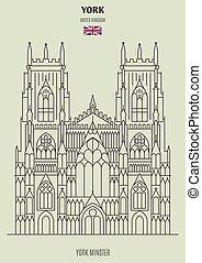 punkt orientacyjny, katedra, uk., ikona, york, york