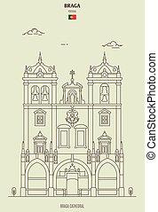 punkt orientacyjny, portugal., ikona, katedra, braga