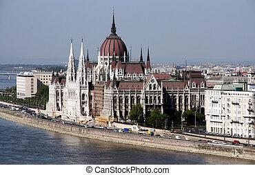 punkt orientacyjny, sławny, parlament, -, węgierski