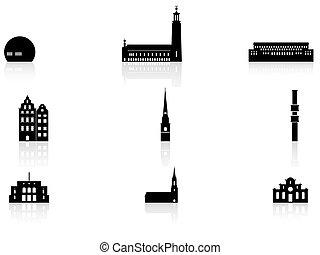 punkt orientacyjny, -, sztokholm, ikony