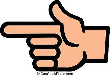 punkt, vektor, finger, ikon