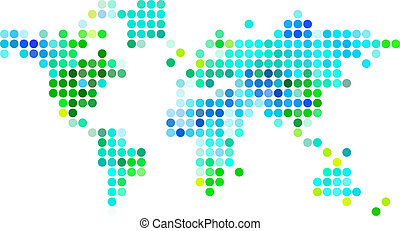 punkte, blaues, abstarct, landkarte, grün, welt