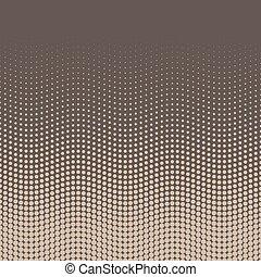 punkte, bohnenkaffee, bottom-top, gradient., beige-brown, abstrakt, tapete, stil, arrangement., halftone, vektor, retro, hintergrund, wellig