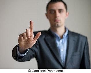 punkte, finger, mann, klage