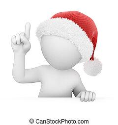 punkte, finger, santa, auf
