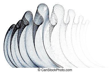 punkte, magisches, wind., gemischt, abstrakt, kurve, partikeln, mesh., welle, gewebe, linien, form, vektor, glatt, hintergrund, strömend, tüll, durchsichtig, 3d