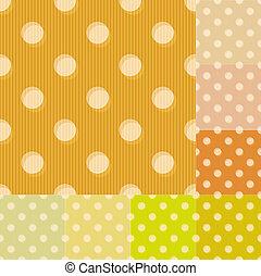 punkte, muster, polka, seamless, gelber