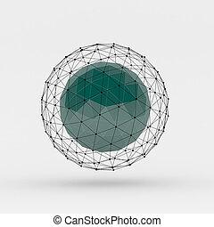 punkte, polygonal, verbunden, linien, kugelförmig