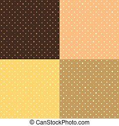 punkte, satz, stern, polka, gelber , orange