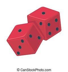 punkte, spielwürfel, freigestellt, abbildung, vektor, schwarz, white., rotes