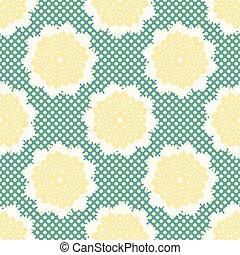 punkte, stil, blume, 1950s, pattern., polka, seamless, llustration, vektor, retro, gezeichnet, spitzenartig, gänseblümchen