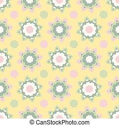 punkte, stil, blume, 1950s, pattern., polka, seamless, llustration, vektor, retro, gezeichnet, gänseblümchen