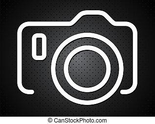punkte, vektor, fotoapperat, schwarzer hintergrund, ikone