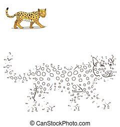 punkte, ziehen, erzieherisch, spiel, verbinden, tier