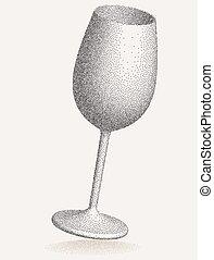 punktera, glas, verkan, vin