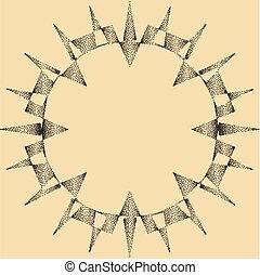 punktera, sol, design, verkan, brista