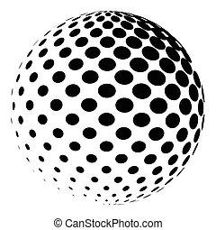 punkterat, pattern., isolerat, halftone, glob, vektor, design, white., logo, element, klot, 3