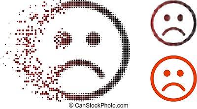 punktiert, smiley, halftone, dissipated, traurige , ikone
