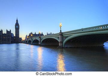punkty orientacyjny, długi, zaświecić, londyn, noc, cityscape, wliczając w to, beautiffully, ekspozycja