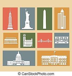 punkty orientacyjny, od, stany zjednoczony ameryki