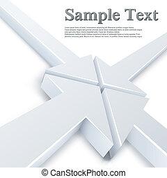 punt, abstract, pijl, een, 4, witte , vergadering