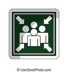 punt, pictogram, vergadering, meldingsbord