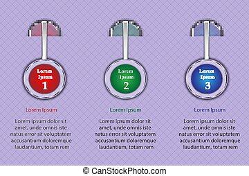 punt, presentatie, infographics, drie, posities, concept